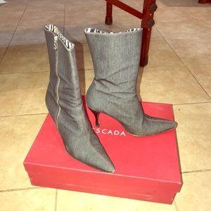 Escada Dornach Denim Heel Booties Size 7.5